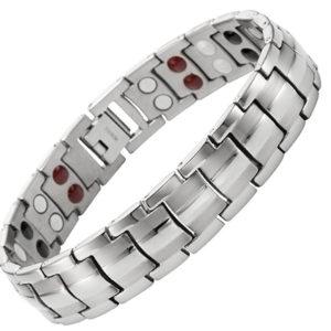 Magnetic Men's Silver Double Power Titanium Elements Bracelet