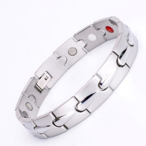 Magnetic Men's Silver Power Titanium Elements Bracelet